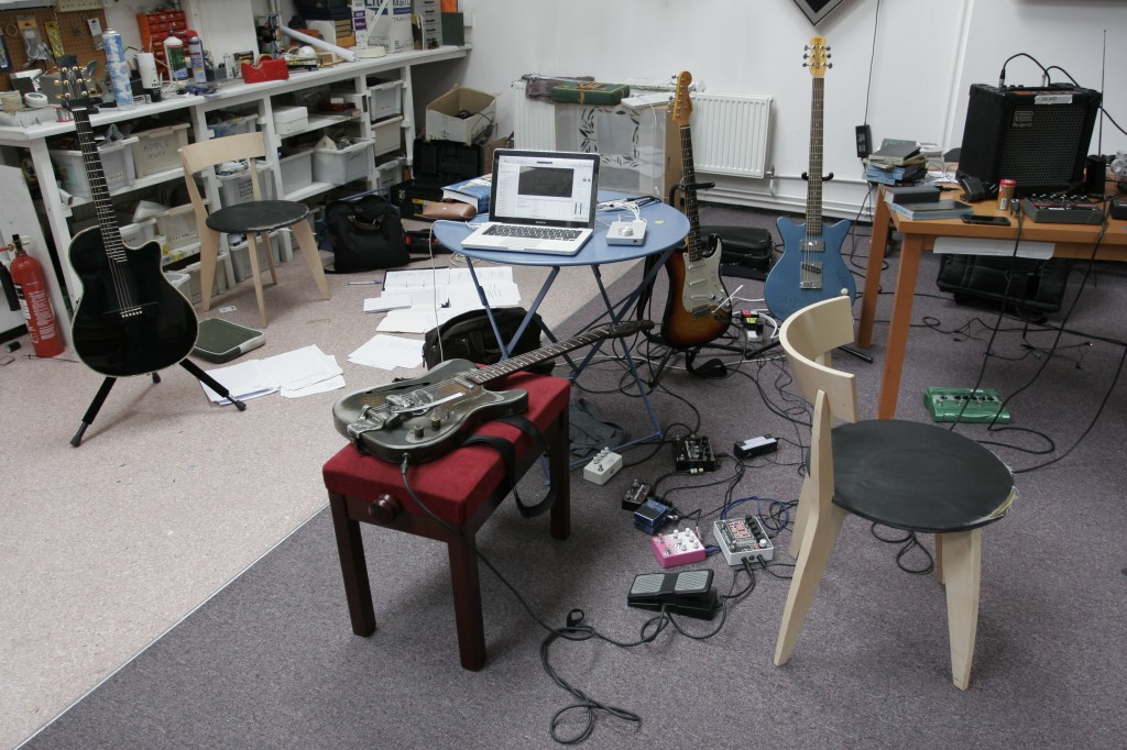 Leo's pedals, guitar and laptop