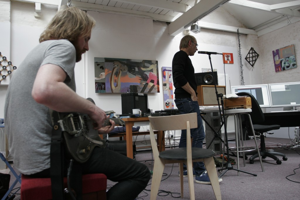 Here we see Karl pondering some lyrics, with Leo Abrahams on guitar in the foreground