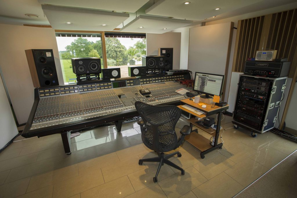 The mix room desk with view out to the lake